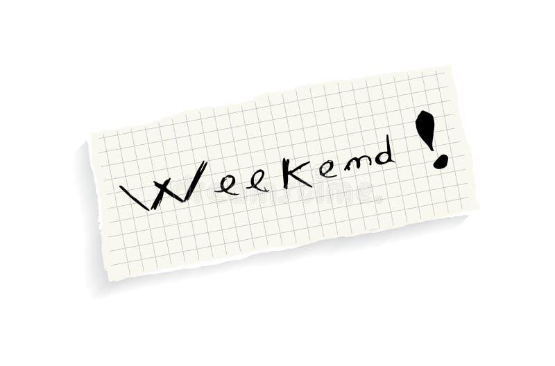 Weekend! Hand het schrijven tekst. vector illustratie