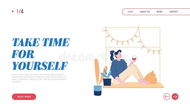 Weekend Home Relaxation, Leisure Girl met Pet Website Landing Page Jonge Vrouw zit op Windows met Cat stock illustratie