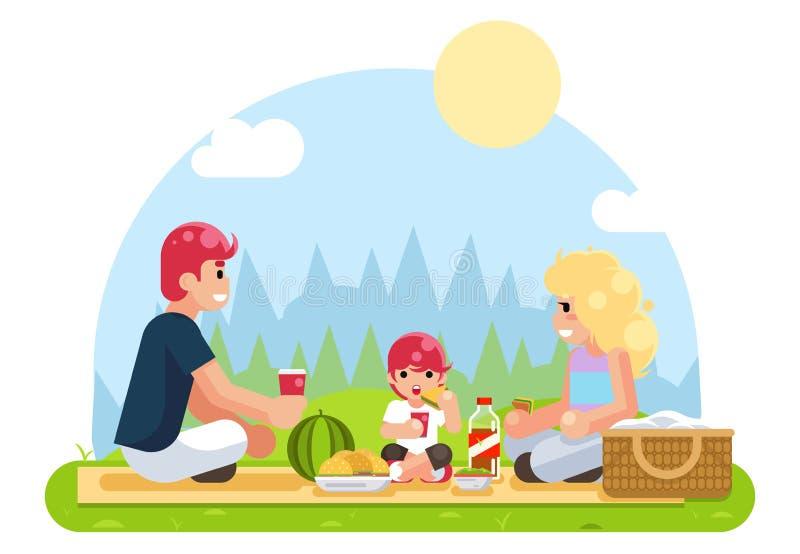Weekend les vacances de famille sur l'illustration plate de vecteur de conception de nourriture de nature illustration libre de droits