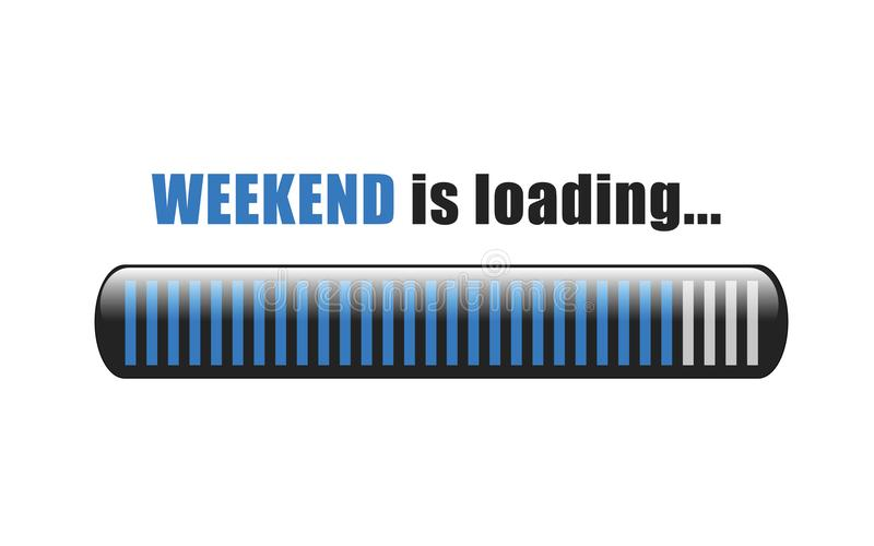 Weekend is loading blue bar vector illustration