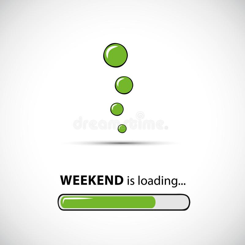 Weekend loading infographic with green bar and bubbles. Vector illustration EPS10 royalty free illustration