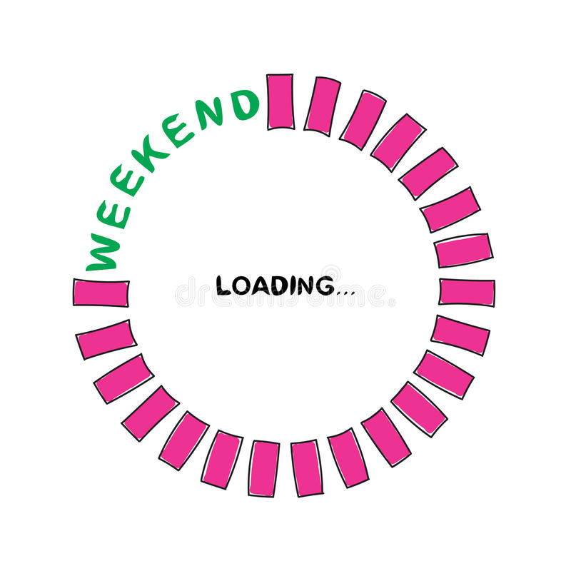 Weekend Loading. Loading Progress Bar. royalty free illustration