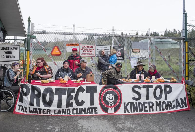 Protesters at the Kinder Morgan tank farm in Burnaby, BC, 2018 royalty free stock photography