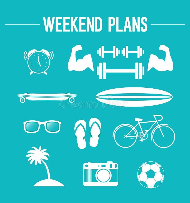 Weekend plans. Weekend creative plans. Vector illustration stock illustration