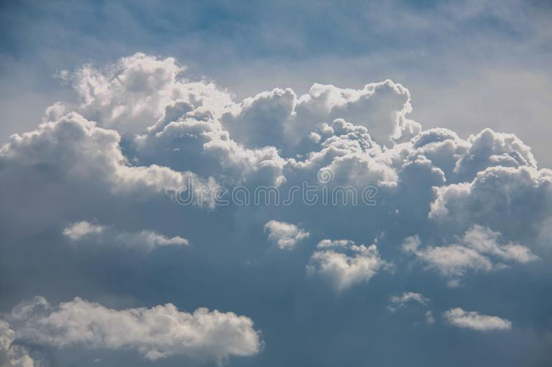 Beautiful sky full of clouds. Weekend in Russian countryside: Beautiful sky full of clouds royalty free stock photo
