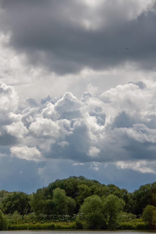 Beautiful sky full of clouds. Weekend in Russian countryside: Beautiful sky full of clouds royalty free stock photos