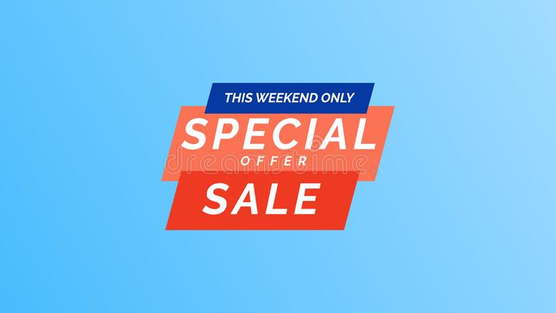 This weekend only special offer sale. Modern vector illustration banner template design in flat trendy minimal geometric style royalty free illustration