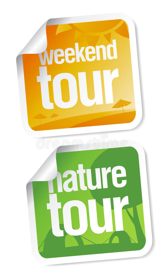 Download Weekend tours stickers stock vector. Image of symbol - 15042779