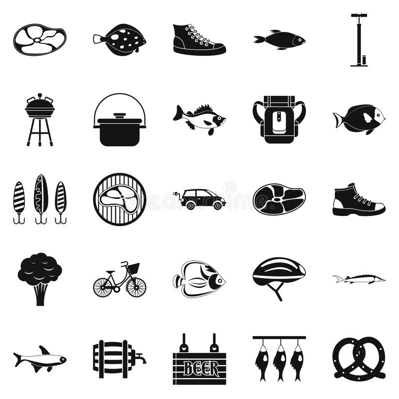 Weekend w lasowych ikonach ustawia, prosty styl ilustracja wektor