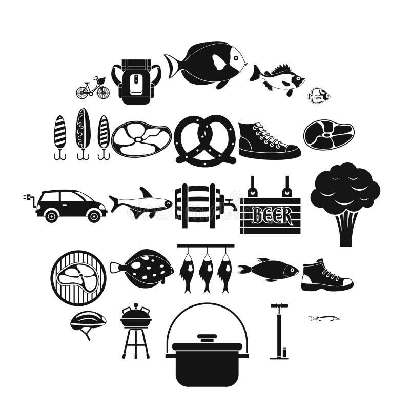 Weekend w lasowych ikonach ustawia, prosty styl royalty ilustracja