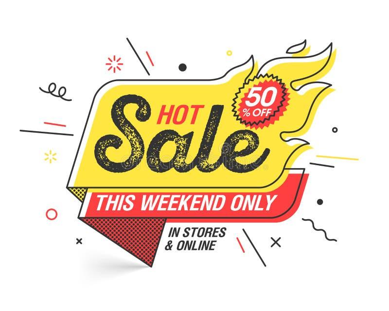 Weekendowy Gorący sprzedaż sztandar ilustracja wektor