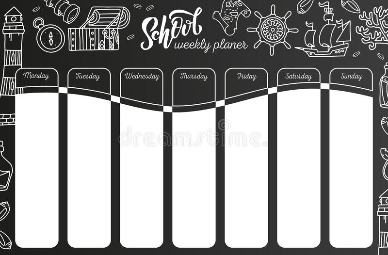 Weekly Calendar on chalkboard . 7 day plan on black chalkboard background. School timetable template with hand written text, vector illustration
