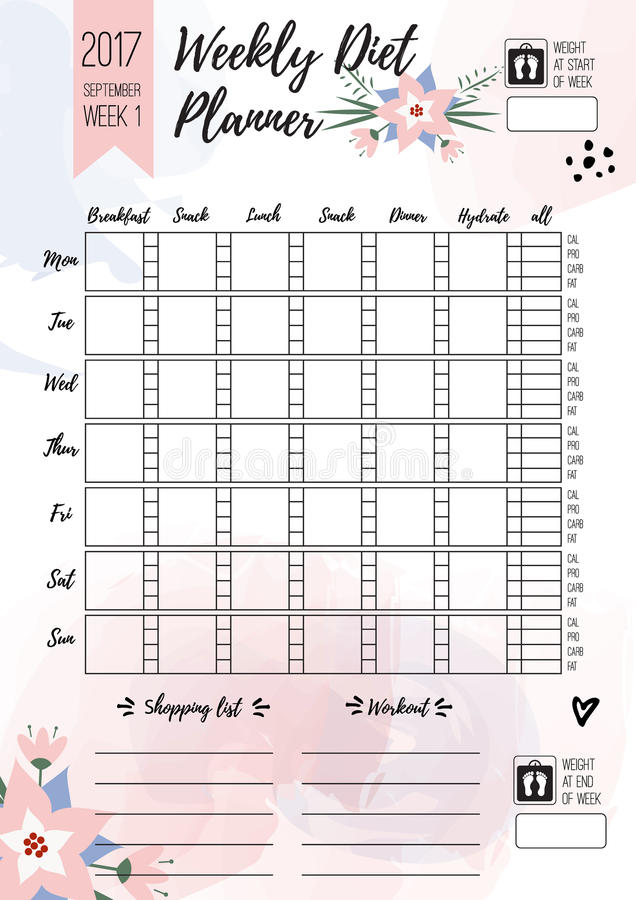 download weekly diet planner vector printable page for female notebook journals or brochure