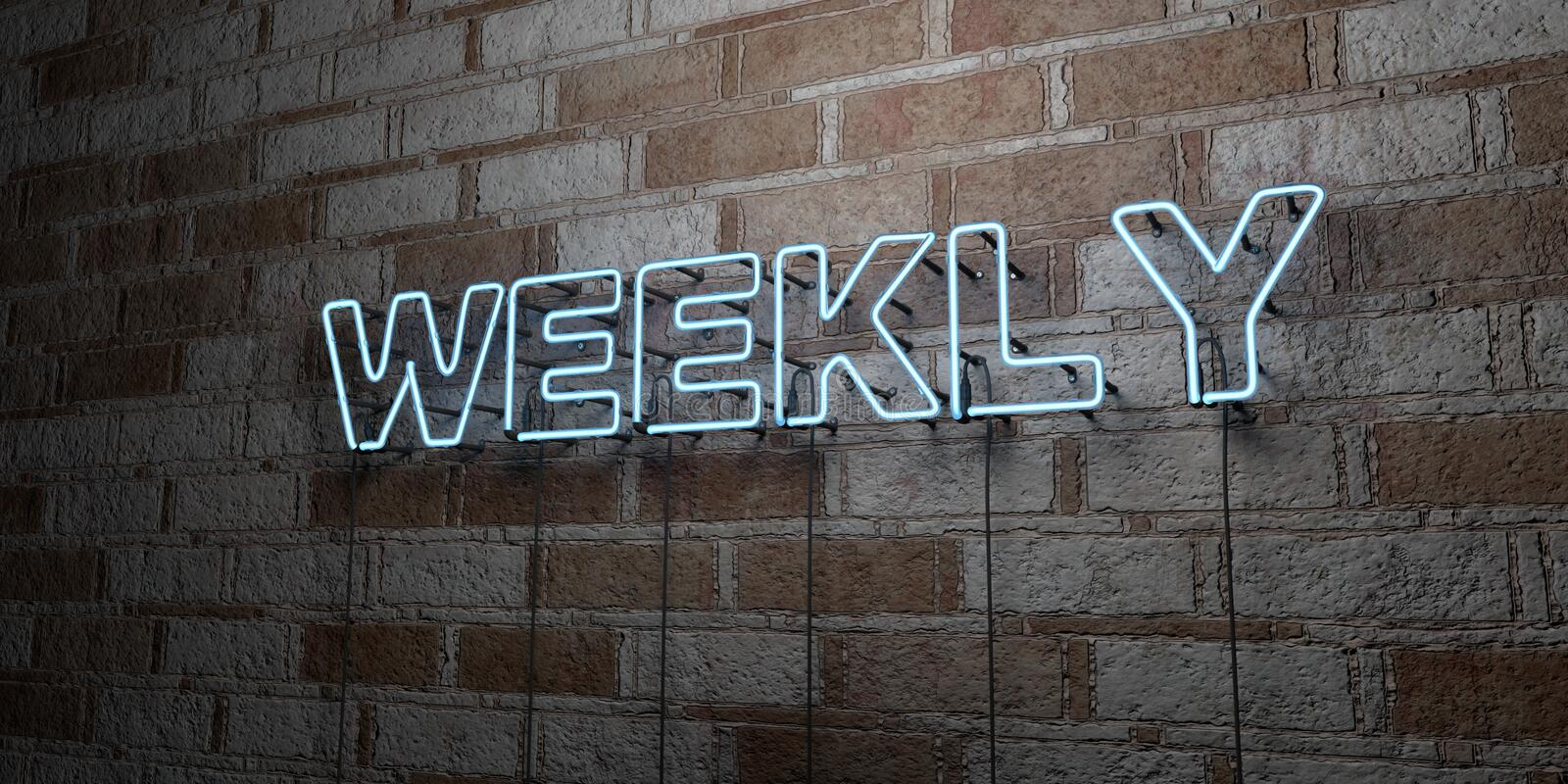WEEKLY - Glowing Neon Sign on stonework wall - 3D rendered royalty free stock illustration. Can be used for online banner ads and direct mailers royalty free illustration