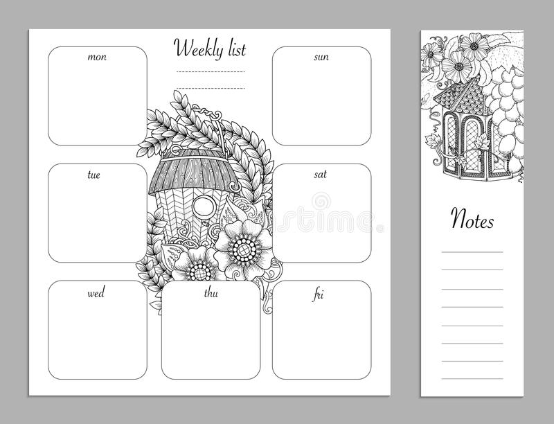 Weekly list design for notepad. Sketchbook, diary mockup. Coloring page. Weekly list design for notepad isolated on white background with place for text in top vector illustration