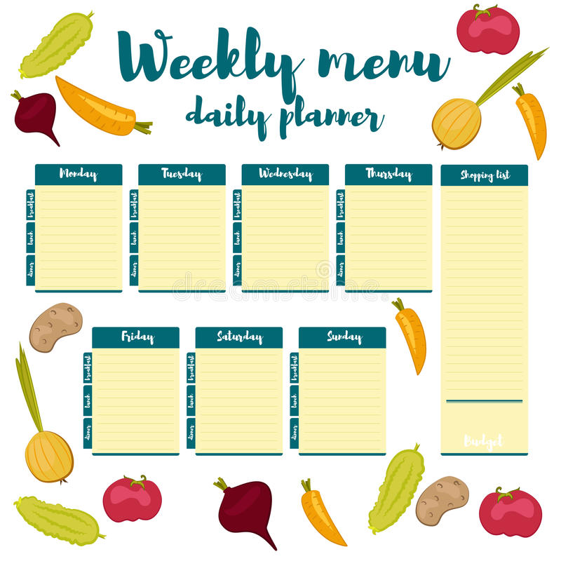 Weekly Menu Blue Daily Planner Stock Vector - Illustration of idea ...