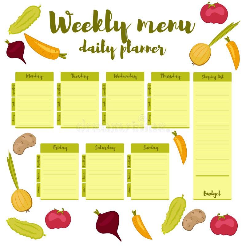 Weekly Calendar Breakfast Lunch Dinner : Weekly menu green daily planner stock vector image