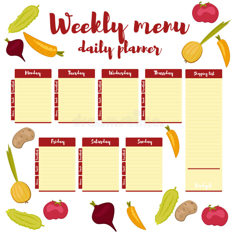 Download Weekly Menu Daily Red Planner Stock Vector   Illustration Of  Lunch, Onion: 75503586  Menu For The Week Template