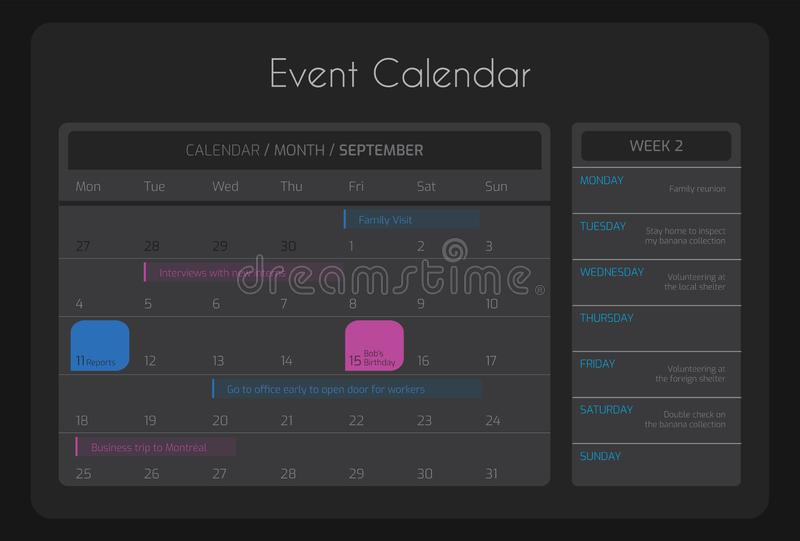 Weekly and Monthly Calendar Agenda stock photography