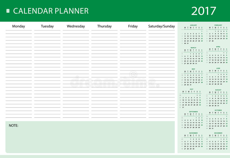 Weekly Personal Calendar Planner For  Stock Vector
