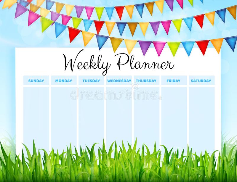 Weekly planner with colorful flags and green grass background. Vector illustration vector illustration