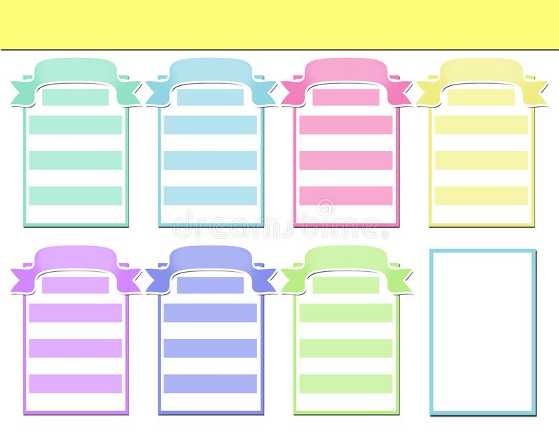 Weekly planner with colorful simple elegant frame royalty free illustration