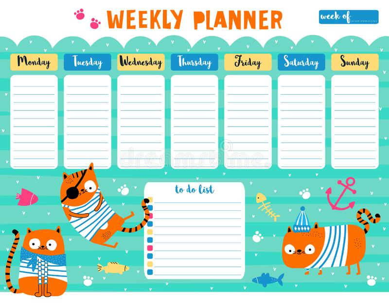 cute weekly planner- pink dots stock vector