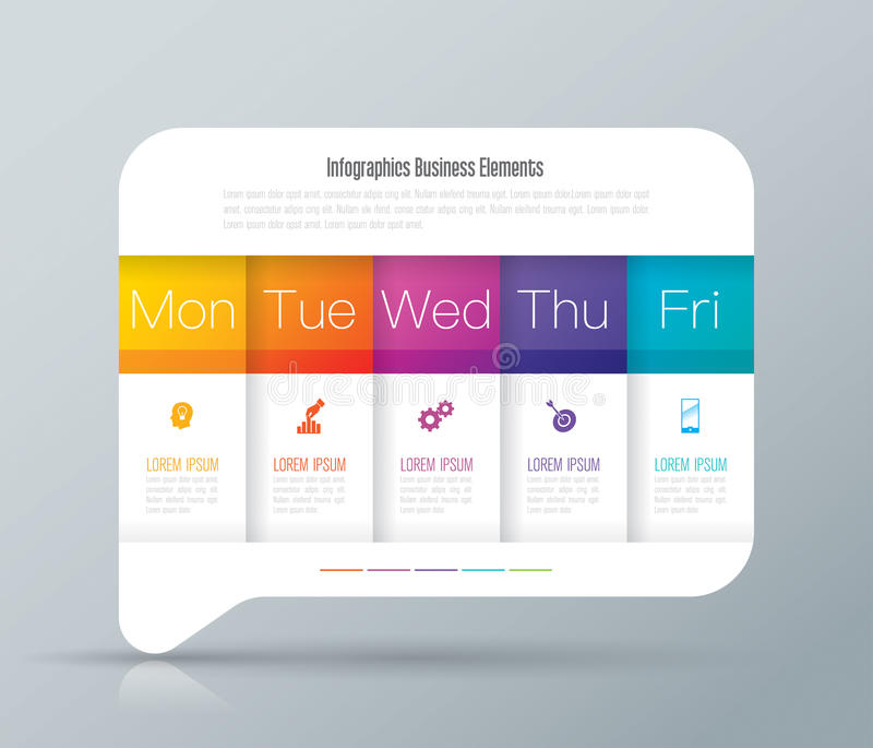 Weekly planner Monday - Friday infographics design. royalty free illustration