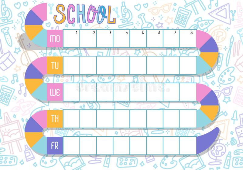 Weekly planner. Multicolored  schedule. School Timetable of lessons for students with snake track. Children design, Vector royalty free illustration