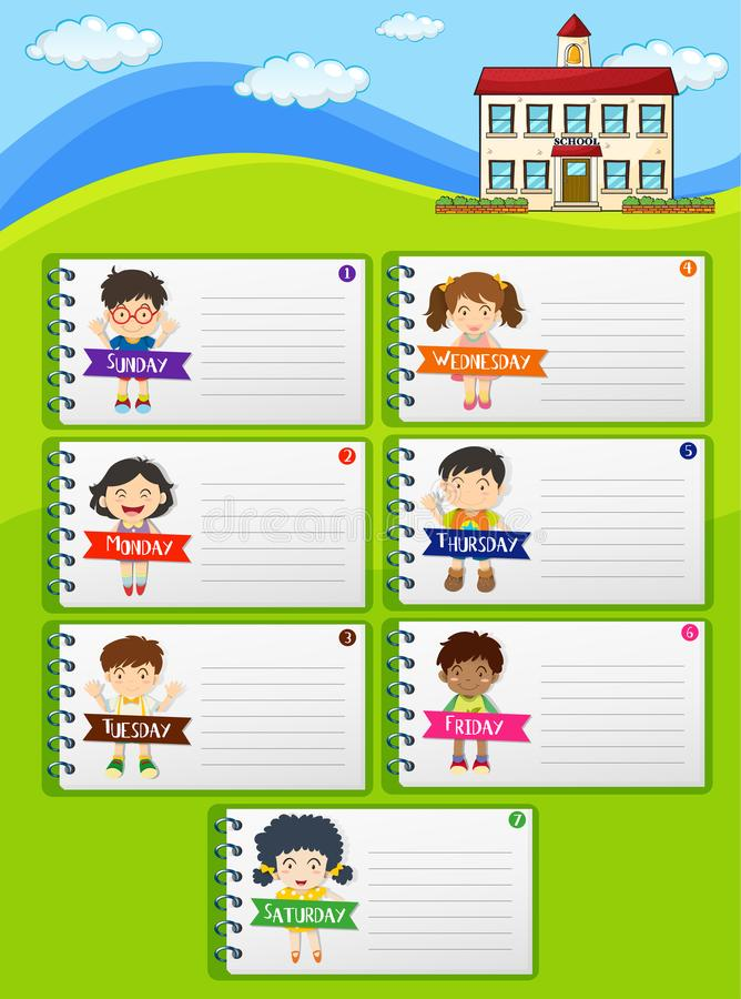 Weekly planner notes with kids and school royalty free illustration
