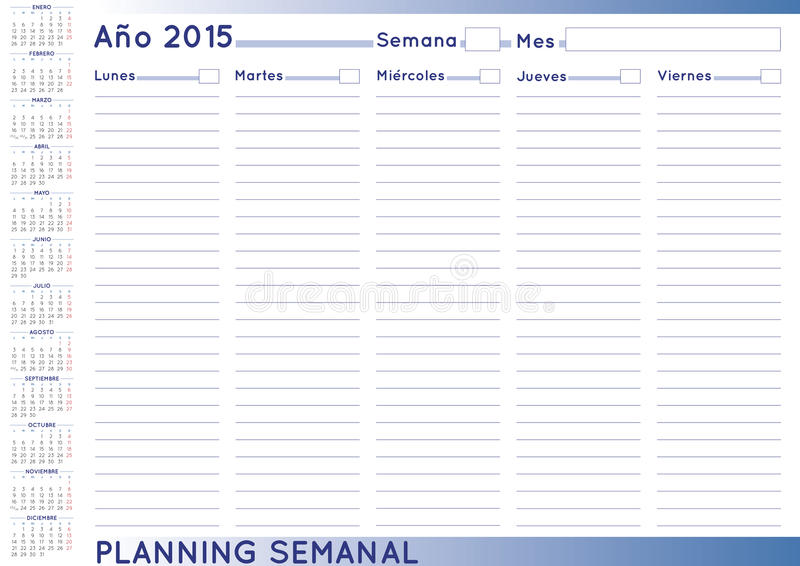 Weekly Calendar In Spanish : Weekly planner spanish stock vector illustration of