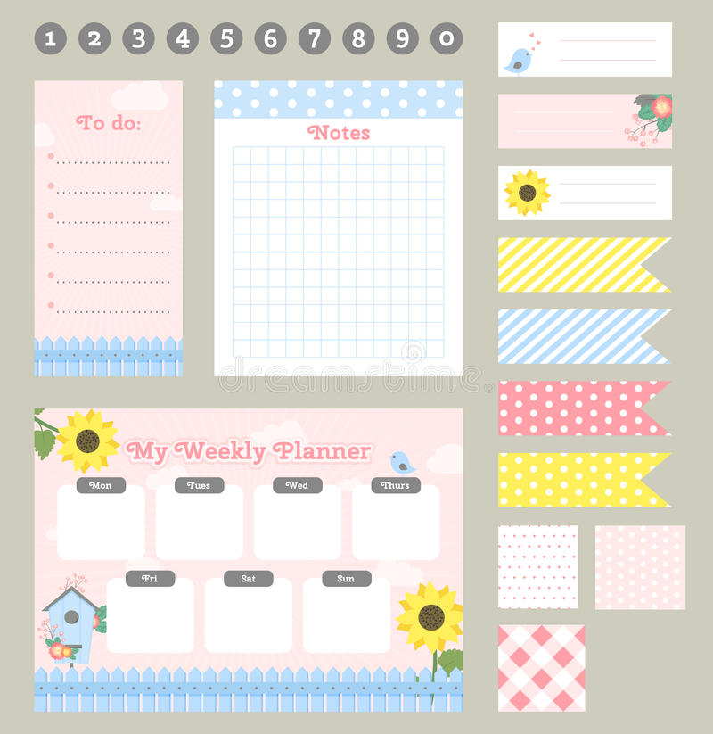 Weekly planner template. Organizer and schedule with notes and to do list. royalty free illustration