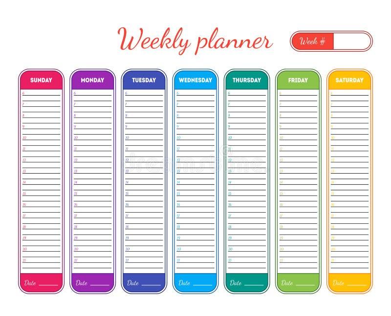 weekly planner template  vector stock vector