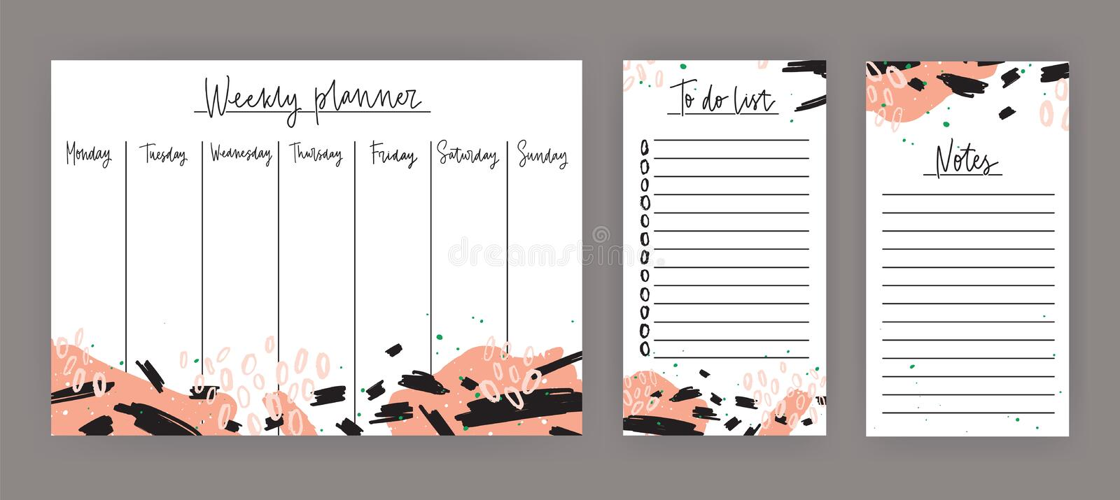 weekly planner with week days sheet for notes and to do list