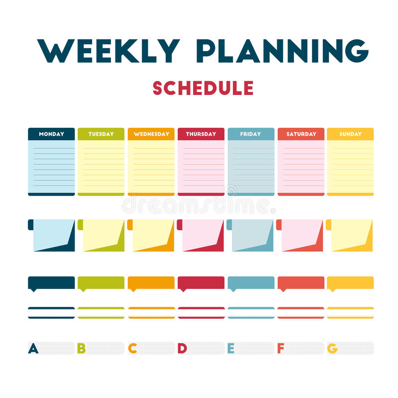 Weekly Calendar Vector : Weekly planning schedule stock vector illustration of