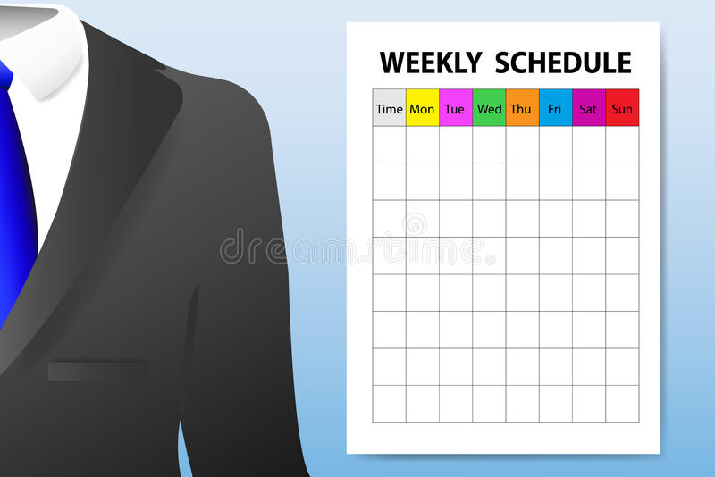 Weekly schedule adult education concept stock illustration