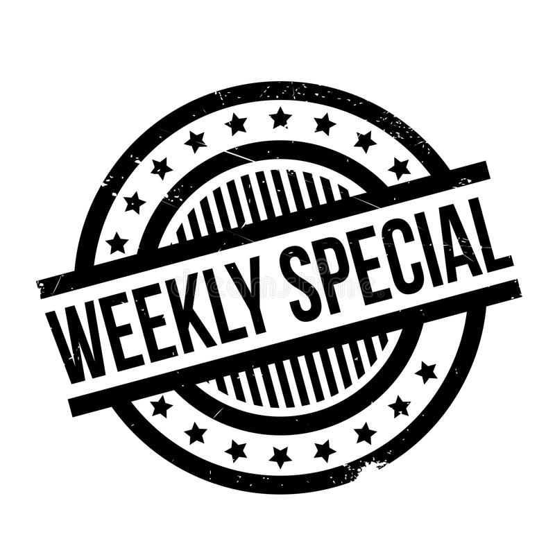 Weekly Special rubber stamp. Grunge design with dust scratches. Effects can be easily removed for a clean, crisp look. Color is easily changed royalty free illustration