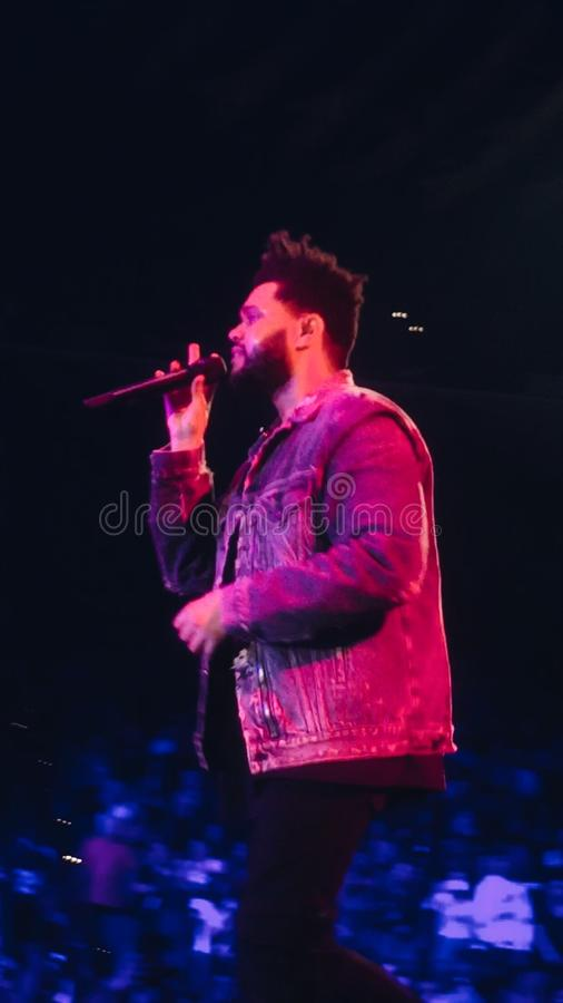 Weeknd执行活在音乐会在奥克兰加利福尼亚 免版税库存照片