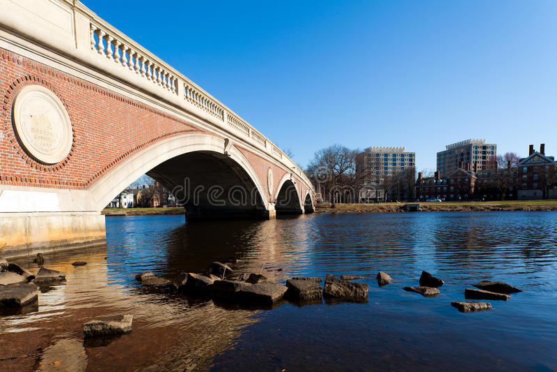 Weeks Memorial Footbridge. View of the Weeks Memorial Footbridge in Boston, Massachusetts - USA on a sunny spring day royalty free stock photos