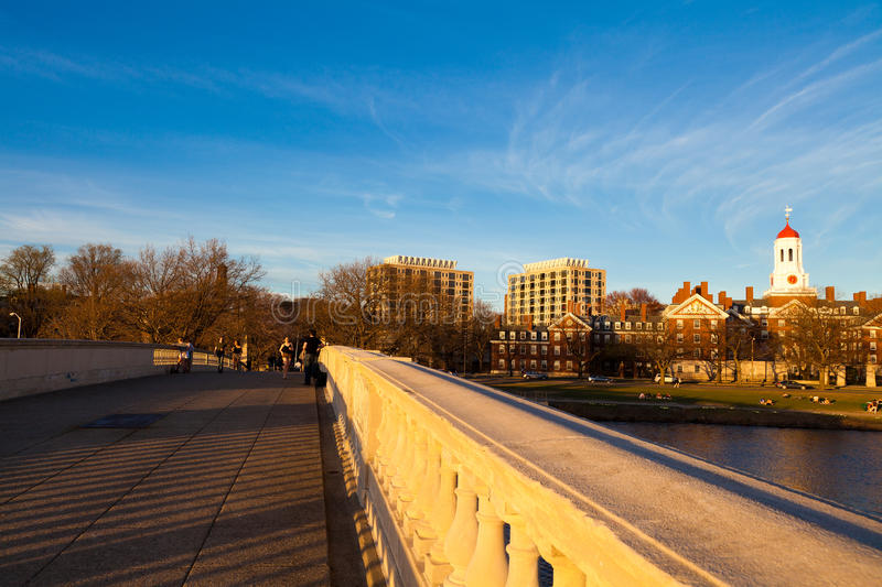 Weeks Memorial Footbridge. View of Cambridge in Boston, Massachusetts (USA) from the Weeks Memorial Footbridge on a sunny spring day in the afternoon stock photo