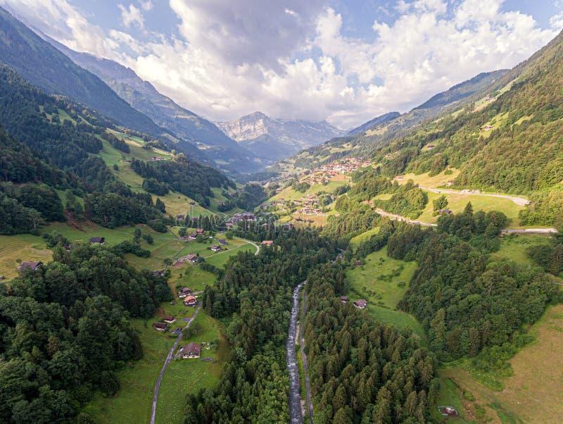 Weelderige alpiene van de riviervallei en berg pieken stock afbeelding