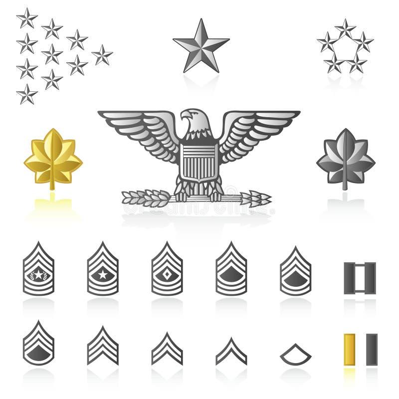 Weelderige pictogrammen: Leger en Militair stock illustratie