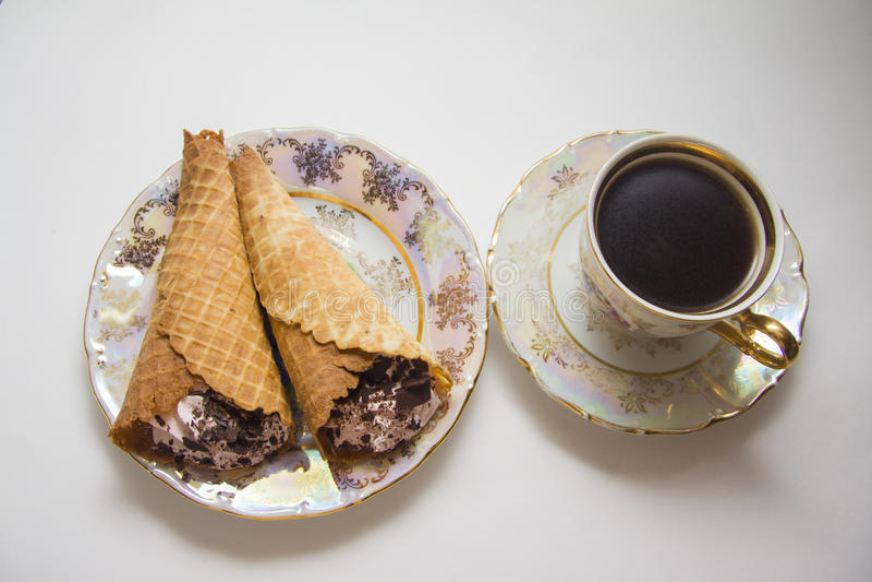 Weense wafels met koffie stock afbeelding
