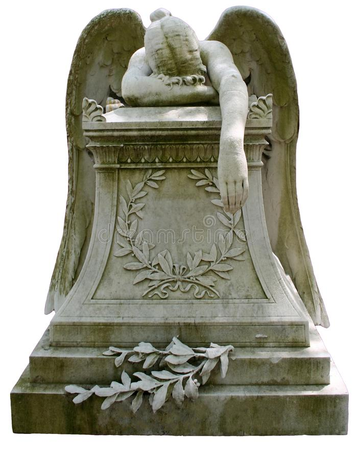 Weeping Angel Statue. Statue of a weeping, grieving angel laying across an ornate headstone stock photo