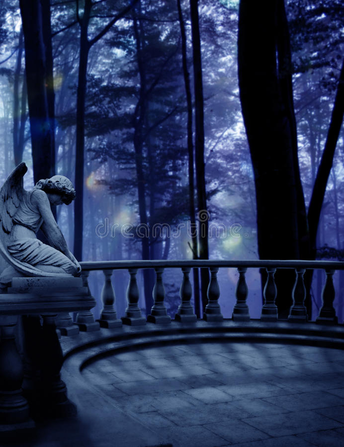 Weeping Angel Woods. An angel statue on a balcony overlooking the woods in a premade background