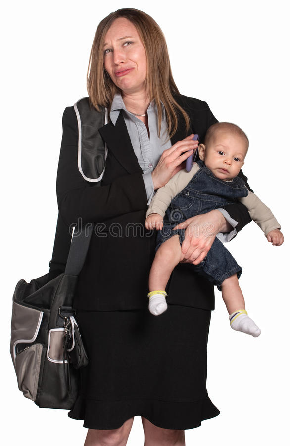 Weeping Businesswoman With Baby Royalty Free Stock Photography