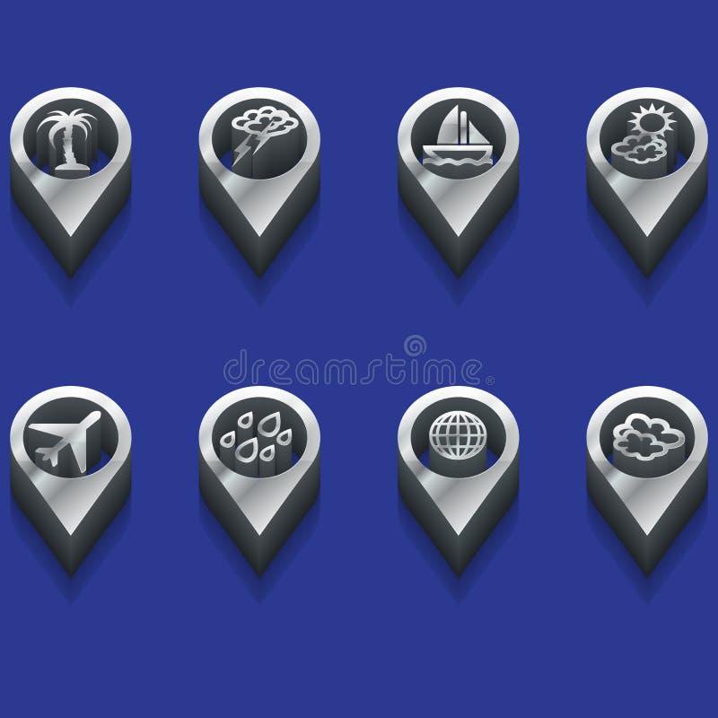 Weer en reissymbolen in 3d stock illustratie