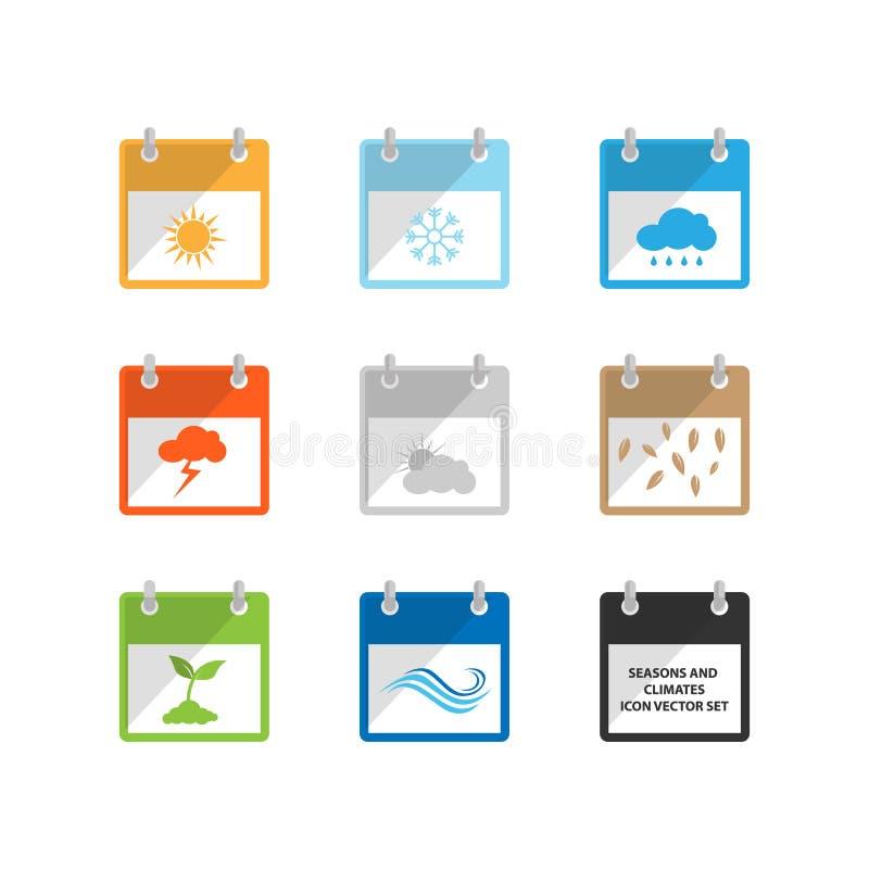 Weer en seizoen vlakke het pictogram vectorillustratie van de ontwerpkalender vector illustratie
