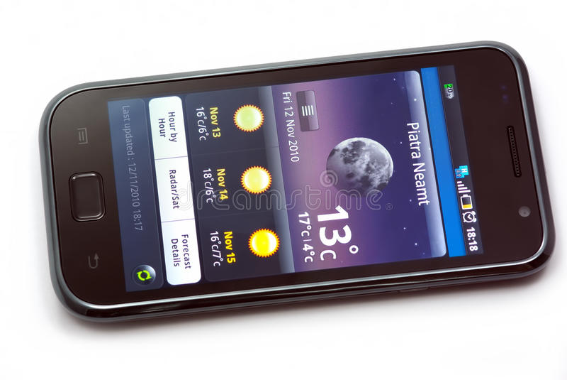 Weer op mobiele telefoon royalty-vrije stock afbeelding