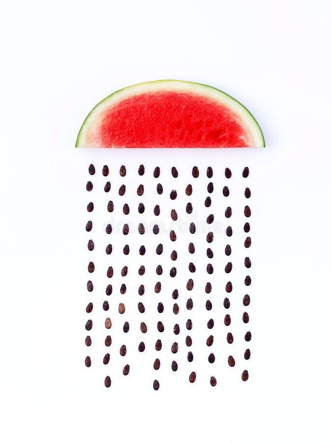 Weerconcept, watermeloenvorm van regenachtig seizoen een deel van een wea royalty-vrije stock fotografie